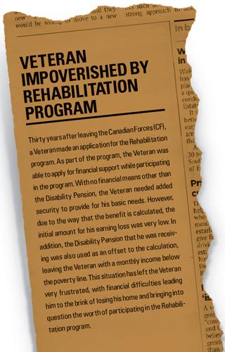 Veteran impoverished by rehabilitation program