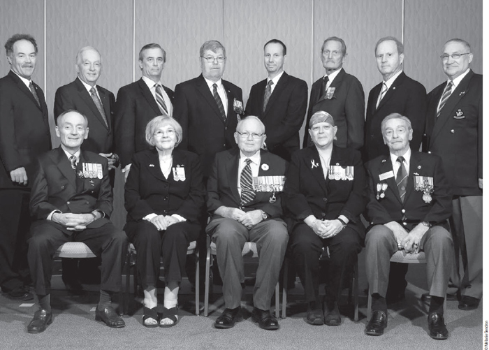 Advisory Committee: Back row: John Walker, Al DeQuetteville, Pat Stogran, Gordon Strathy, Thomas J. Hoppe, Lorne Edward Hall, Brian Forbes, Claude Petit