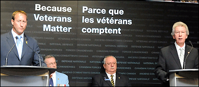 The ministers of Veterans Affairs and National Defence announcing changes to Veterans benefits.