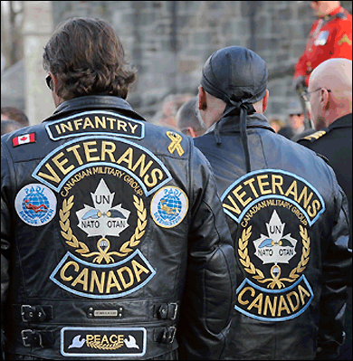 Representatives of the Canadian Forces Veterans Motorcycle Club at the 2008 Quebec City Remembrance Day ceremony.