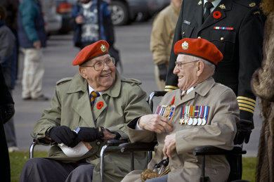 Two Second World War Veterans at the Remembrance Day Ceremony in Trenton, Ontario in 2008.
