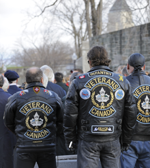 Representatives of the Canadian Forces Veterans Motorcycle Club at the Remembrance Day ceremony in Quebec City