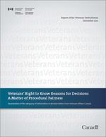 Report of the Veterans Ombudsman - Veterans' Right to Know Reasons for Decisions: A Matter of Procedural Fairness
