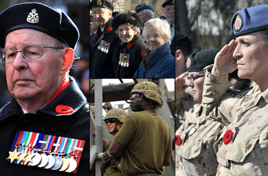 A Second World War Veteran at Toronto's 2011 Remembrance Day ceremony (left) / Veterans at Ottawa's 2007 Remembrance Day ceremony (top middle) / The Canadian Forces joint response to the devastation caused by Hurricane Igor to Newfoundland on September 21, 2010 (bottom middle) / Soldiers from the 1st Battalion, The Royal Canadian Regiment Battle Group, during a 2010 Remembrance Day ceremony at the Battle Group Compound (right)