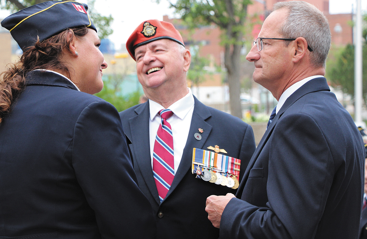Veterans Ombudsman, Guy Parent, with Deanna Fimrite, Dominion Secretary-Treasurer of ANAVETS, and Jacques Bouchard, Deputy Chair of the Veterans Review and              Appeal Board